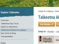Alaska Travel Site Left Navigation & Interior Page