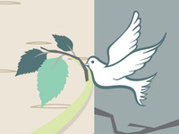 Dove with Birch Leaves