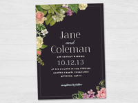 Dark Botanical Wedding Invitation