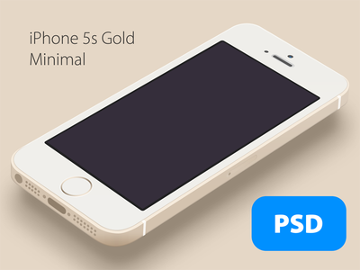 Download iPhone 5S Minimal Gold Perspective Mockup PSD