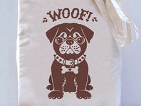 Brown Pug Canvas Tote Bag