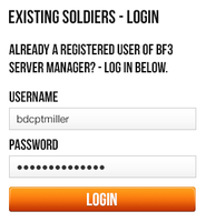 Battlefield 3 Server Manager - Login Panel