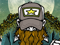 "Zac Brown Band gigposter... detail (""country wizard"")."