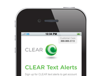 CLEAR SMS Sign Up Landing Page on a Mobile Device