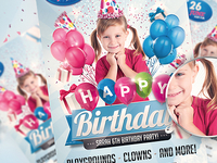 Kids Birthday PSD Invitation Party Flyer