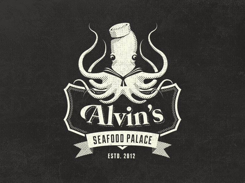 Dribbble - Alvin's Seafood Palace - Vintage Fantasy Logo Design by ...