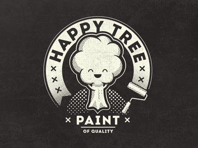 Happy Tree Paint Vintage Fantasy Logo