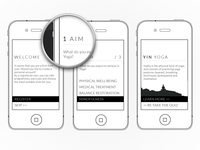 Clean & minimal yoga app wireframe