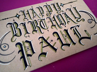 Birthday Card in Gothic Lettering