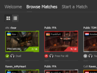 Online Matches Browser