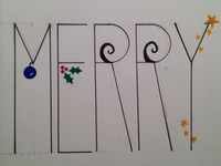 "Merry Christmas Doodle - Close Up ""Merry"""