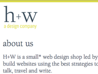 h+w design - new site design