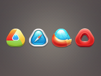 Rounded triangle browser icons