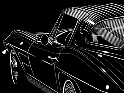 1963 Corvette Stingray Split Window Coupe on Dribbble   1963 Corvette Stingray Split Window By David Cran