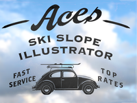 Aces Ski Slope Illustrator