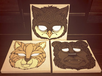 Cat Owl Bear Canvas