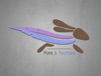 Hare & Feathers Tri-colour Logo.