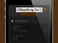 """Remember my Size"" Mobile App II"
