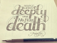"""People Living Deeply..."" Hand lettering project IN PROGRESS"