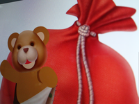 Teddy in the Santa's bag close-up (WIP)