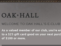 Oak Hall Email: After