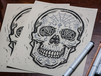 Web Sugar Skull - Block Print