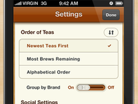 Tea App Settings Screen