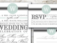 Vintage Monogram Wedding Invitation Suite