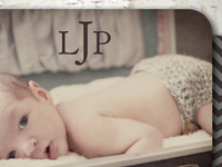 Monogram Baby Announcement With Rounded Corners