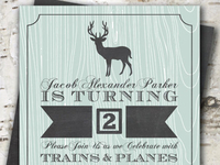 Rustic Deer Boy Birthday Party Invitation