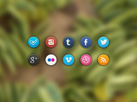 New Glossi Social Icons PSD