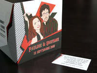 Comic style wedding invitation