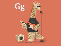 A giraffe who plays guitar in a garage band