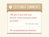Customer Comment Display