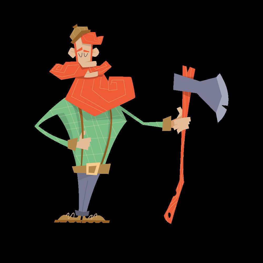 Skogsman med yxa