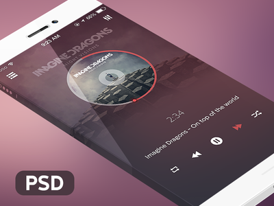 Download Music Player iOS App Mockup