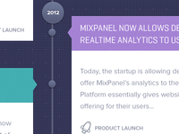 Timeline / homepage about us design for Mixpanel