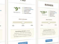 Pricing Plans table with slider