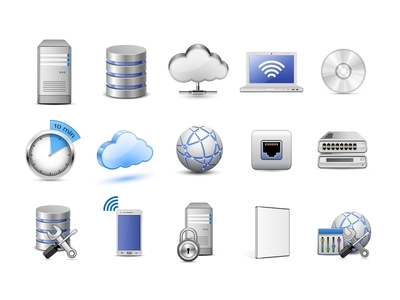 Computer and Cloud Computing Vector Icon Set