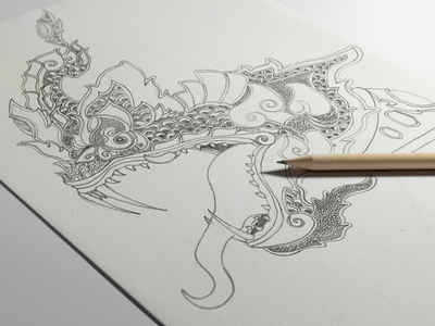 Dribbble custom lai thai naga serpent sketch by luis faus for The girl with the dragon tattoo common sense media