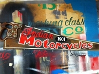 Indian Motorcycles - 1901 - Enamel on Vintage Handsaw