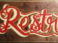 Restrooms Signage - 8' x 3'- Enamel on Stained Pine