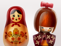 Matryoshka And Kokeshi