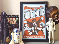 blue milk printed