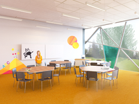 Primary school interior and architecture concept