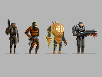 Pixel Video Game Characters