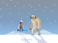 Luke Vs. Wampa pixel art