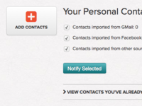 Personal Contacts section for new client app