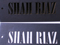 Shah Riaz Clothing Hang Tag