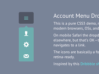 Account Menu Dropdown CSS3 & HTML5